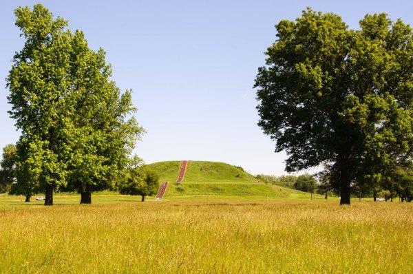 L'imposant tertre central de Cahokia, Monk's Mound, domine le paysage environnant. On peut apercevoir le panorama urbain de Saint-Louis, à l'ouest, de la terrasse supérieure de ce monument.