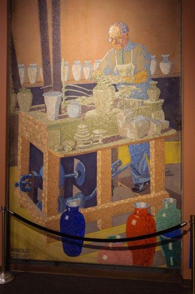 Une des mosaïques qui décoraient le passage qui menaient aux quais d'embarquement des passagers dans la gare Union Terminal